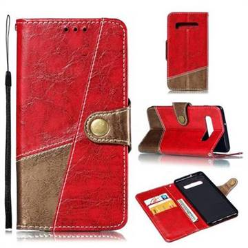 Retro Magnetic Stitching Wallet Flip Cover for Samsung Galaxy S10 Plus(6.4 inch) - Rose Red