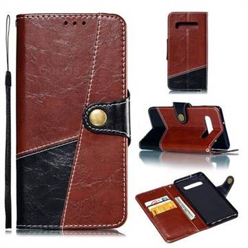 Retro Magnetic Stitching Wallet Flip Cover for Samsung Galaxy S10 Plus(6.4 inch) - Dark Red