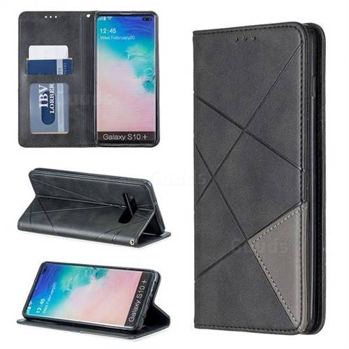 Prismatic Slim Magnetic Sucking Stitching Wallet Flip Cover for Samsung Galaxy S10 Plus(6.4 inch) - Black