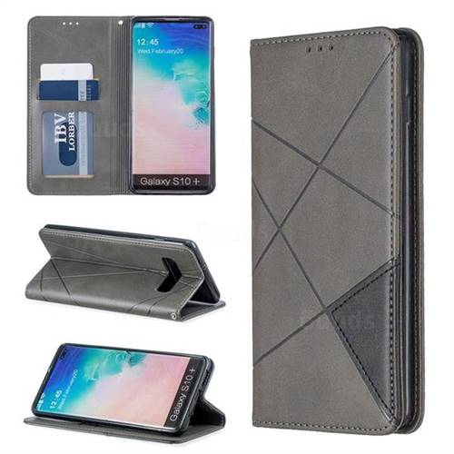 Prismatic Slim Magnetic Sucking Stitching Wallet Flip Cover for Samsung Galaxy S10 Plus(6.4 inch) - Gray