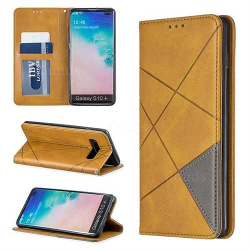 Prismatic Slim Magnetic Sucking Stitching Wallet Flip Cover for Samsung Galaxy S10 Plus(6.4 inch) - Yellow