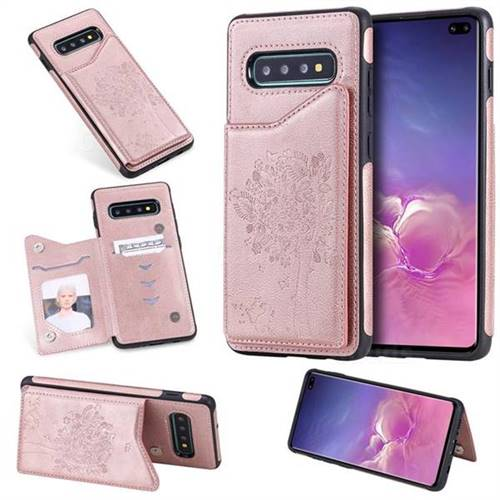 Luxury Tree and Cat Multifunction Magnetic Card Slots Stand Leather Phone Back Cover for Samsung Galaxy S10 Plus(6.4 inch) - Rose Gold
