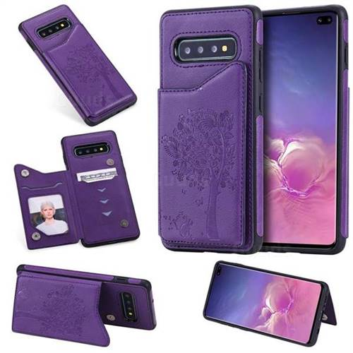 Luxury Tree and Cat Multifunction Magnetic Card Slots Stand Leather Phone Back Cover for Samsung Galaxy S10 Plus(6.4 inch) - Purple