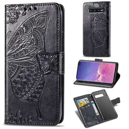 Embossing Mandala Flower Butterfly Leather Wallet Case for Samsung Galaxy S10 Plus(6.4 inch) - Black