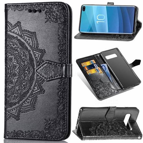 Embossing Imprint Mandala Flower Leather Wallet Case for Samsung Galaxy S10 Plus(6.4 inch) - Black