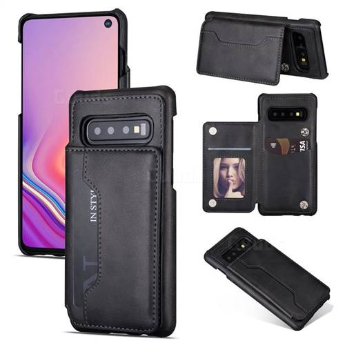 Luxury Magnetic Double Buckle Leather Phone Case for Samsung Galaxy S10 Plus(6.4 inch) - Black