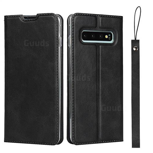 Calf Pattern Magnetic Automatic Suction Leather Wallet Case for Samsung Galaxy S10 Plus(6.4 inch) - Black
