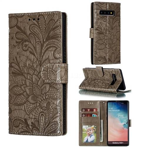 Intricate Embossing Lace Jasmine Flower Leather Wallet Case for Samsung Galaxy S10 Plus(6.4 inch) - Gray