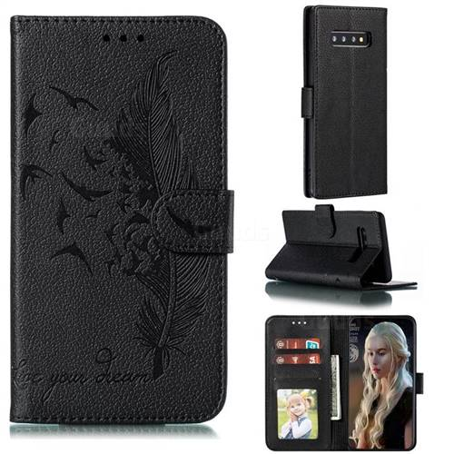 Intricate Embossing Lychee Feather Bird Leather Wallet Case for Samsung Galaxy S10 Plus(6.4 inch) - Black
