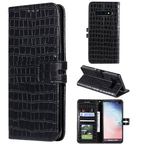 Luxury Crocodile Magnetic Leather Wallet Phone Case for Samsung Galaxy S10 Plus(6.4 inch) - Black