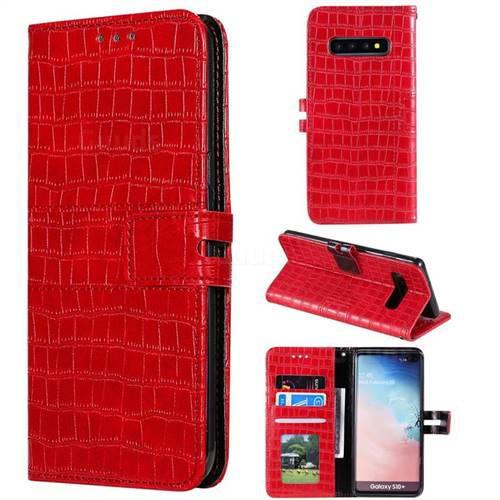 Luxury Crocodile Magnetic Leather Wallet Phone Case for Samsung Galaxy S10 Plus(6.4 inch) - Red