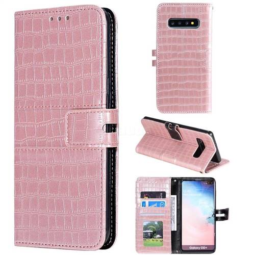 Luxury Crocodile Magnetic Leather Wallet Phone Case for Samsung Galaxy S10 Plus(6.4 inch) - Rose Gold
