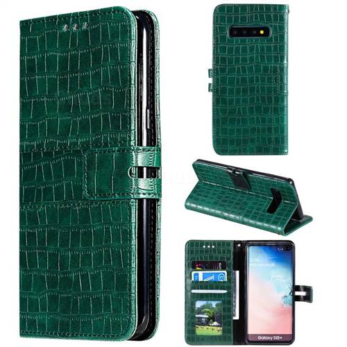 Luxury Crocodile Magnetic Leather Wallet Phone Case for Samsung Galaxy S10 Plus(6.4 inch) - Green