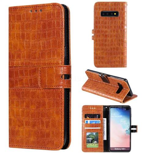 Luxury Crocodile Magnetic Leather Wallet Phone Case for Samsung Galaxy S10 Plus(6.4 inch) - Brown