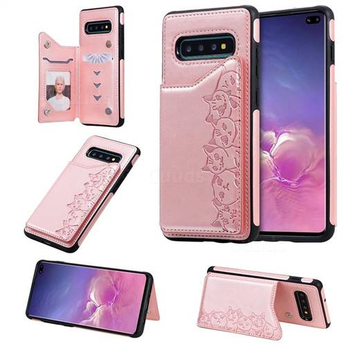 Yikatu Luxury Cute Cats Multifunction Magnetic Card Slots Stand Leather Back Cover for Samsung Galaxy S10 Plus(6.4 inch) - Rose Gold