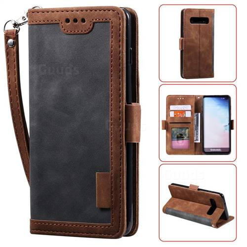 Luxury Retro Stitching Leather Wallet Phone Case for Samsung Galaxy S10 Plus(6.4 inch) - Gray