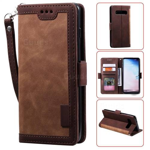 Luxury Retro Stitching Leather Wallet Phone Case for Samsung Galaxy S10 Plus(6.4 inch) - Dark Brown