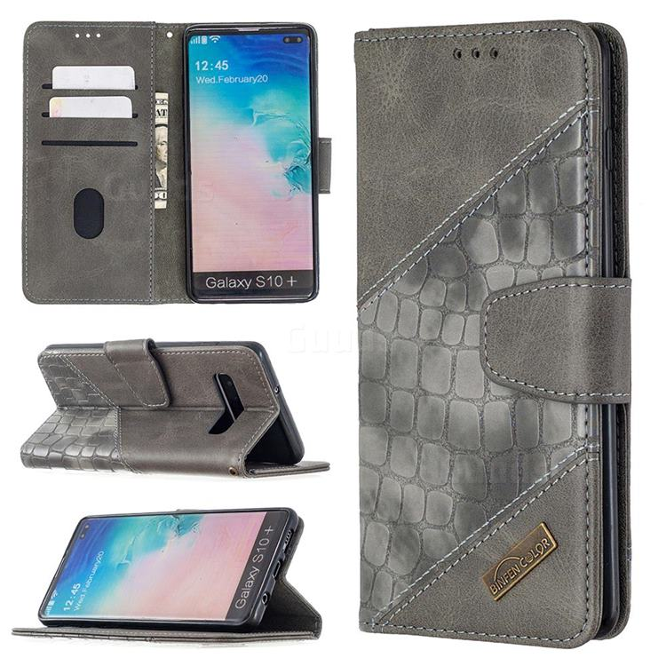 BinfenColor BF04 Color Block Stitching Crocodile Leather Case Cover for Samsung Galaxy S10 Plus(6.4 inch) - Gray
