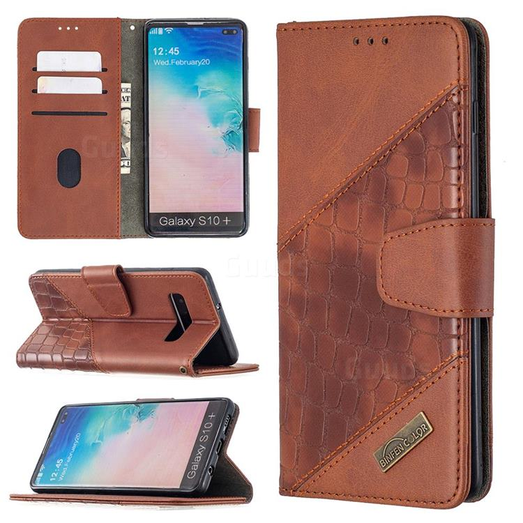 BinfenColor BF04 Color Block Stitching Crocodile Leather Case Cover for Samsung Galaxy S10 Plus(6.4 inch) - Brown