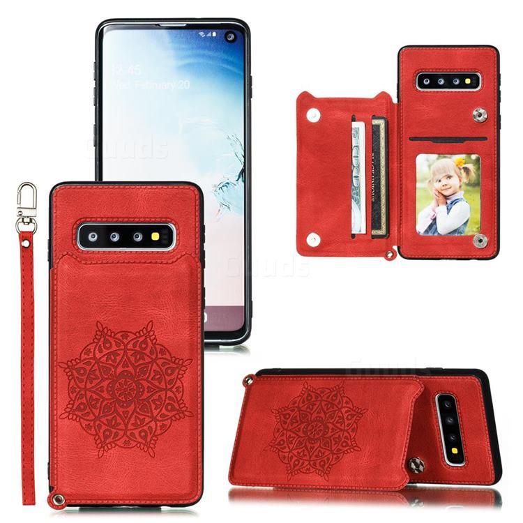 Luxury Mandala Multi-function Magnetic Card Slots Stand Leather Back Cover for Samsung Galaxy S10 Plus(6.4 inch) - Red