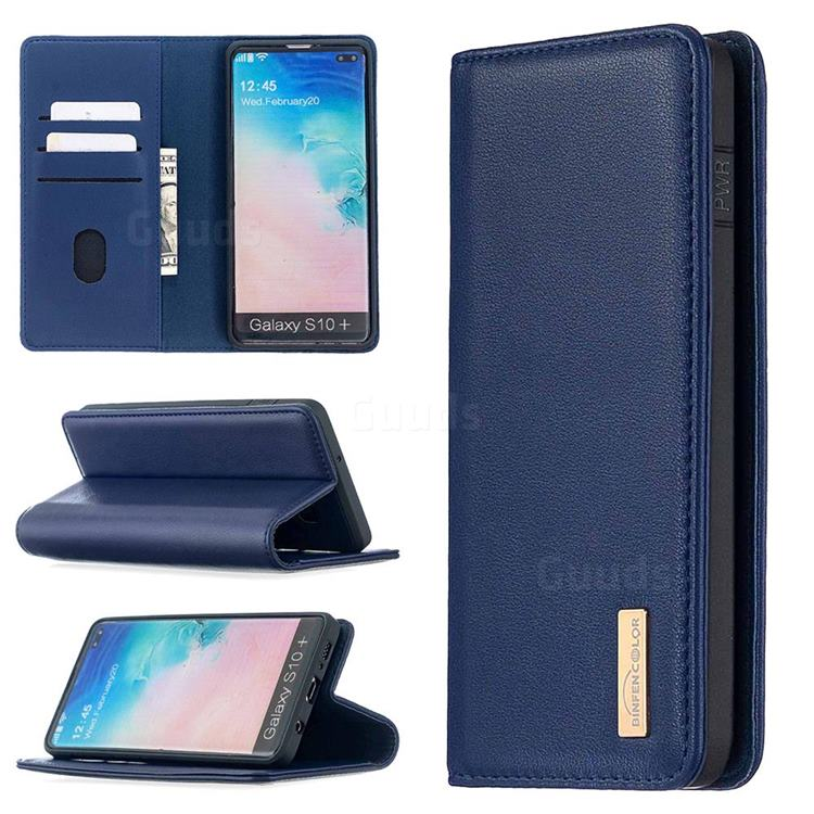 Binfen Color BF06 Luxury Classic Genuine Leather Detachable Magnet Holster Cover for Samsung Galaxy S10 Plus(6.4 inch) - Blue
