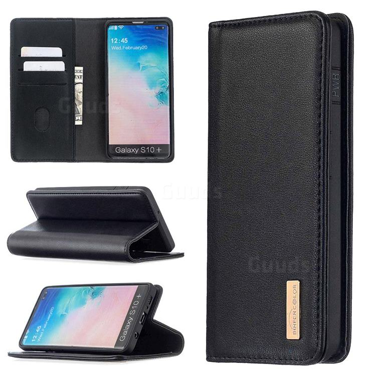 Binfen Color BF06 Luxury Classic Genuine Leather Detachable Magnet Holster Cover for Samsung Galaxy S10 Plus(6.4 inch) - Black