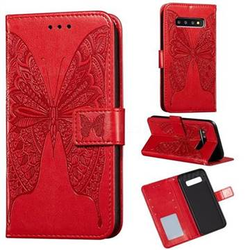 Intricate Embossing Vivid Butterfly Leather Wallet Case for Samsung Galaxy S10 Plus(6.4 inch) - Red