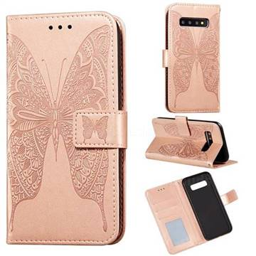 Intricate Embossing Vivid Butterfly Leather Wallet Case for Samsung Galaxy S10 Plus(6.4 inch) - Rose Gold