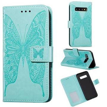 Intricate Embossing Vivid Butterfly Leather Wallet Case for Samsung Galaxy S10 Plus(6.4 inch) - Green