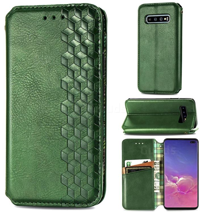 Ultra Slim Fashion Business Card Magnetic Automatic Suction Leather Flip Cover for Samsung Galaxy S10 Plus(6.4 inch) - Green