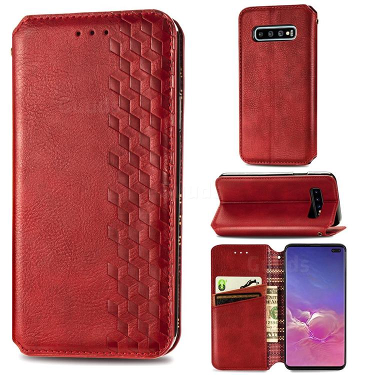 Ultra Slim Fashion Business Card Magnetic Automatic Suction Leather Flip Cover for Samsung Galaxy S10 Plus(6.4 inch) - Red