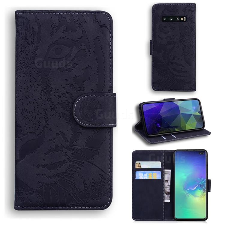 Intricate Embossing Tiger Face Leather Wallet Case for Samsung Galaxy S10 Plus(6.4 inch) - Black
