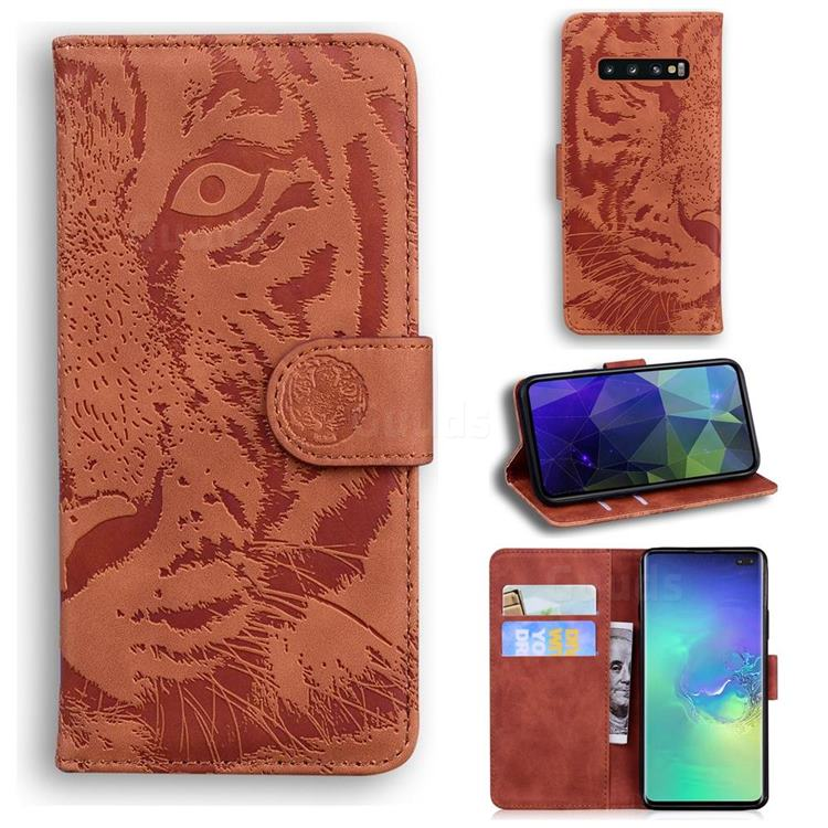 Intricate Embossing Tiger Face Leather Wallet Case for Samsung Galaxy S10 Plus(6.4 inch) - Brown