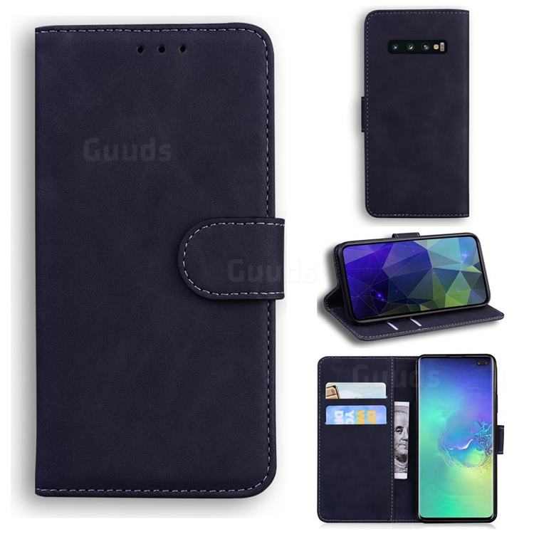 Retro Classic Skin Feel Leather Wallet Phone Case for Samsung Galaxy S10 Plus(6.4 inch) - Black