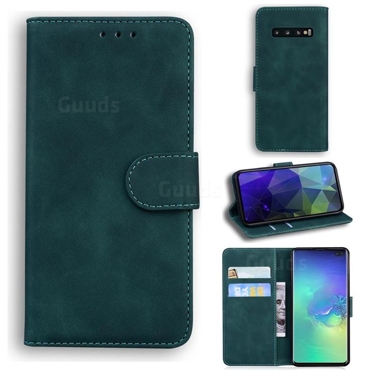 Retro Classic Skin Feel Leather Wallet Phone Case for Samsung Galaxy S10 Plus(6.4 inch) - Green