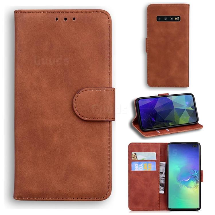 Retro Classic Skin Feel Leather Wallet Phone Case for Samsung Galaxy S10 Plus(6.4 inch) - Brown