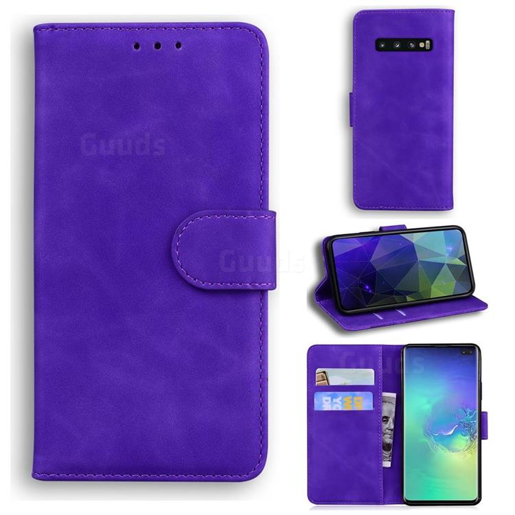 Retro Classic Skin Feel Leather Wallet Phone Case for Samsung Galaxy S10 Plus(6.4 inch) - Purple