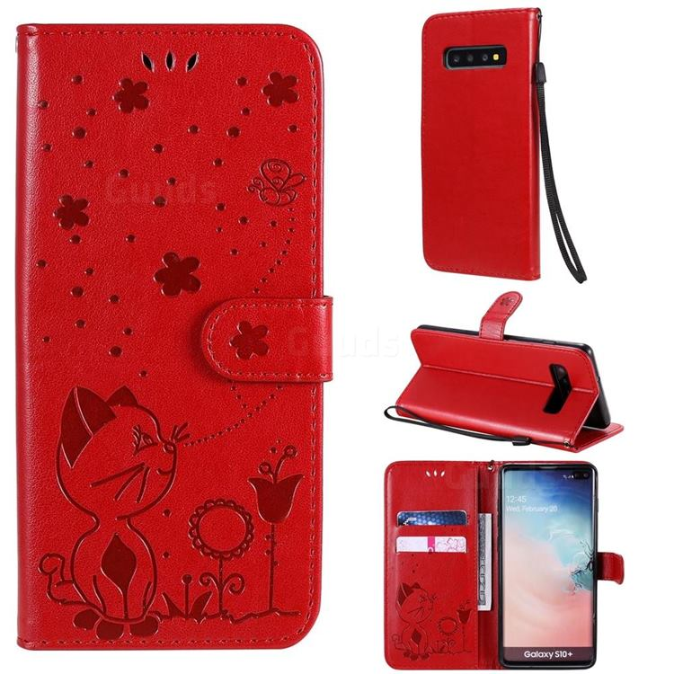 Embossing Bee and Cat Leather Wallet Case for Samsung Galaxy S10 Plus(6.4 inch) - Red