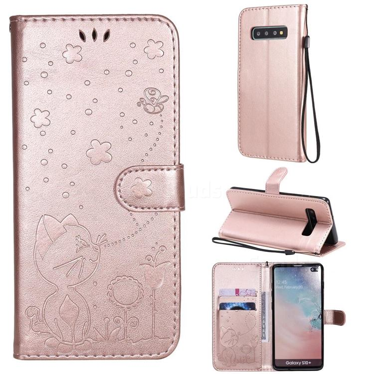 Embossing Bee and Cat Leather Wallet Case for Samsung Galaxy S10 Plus(6.4 inch) - Rose Gold