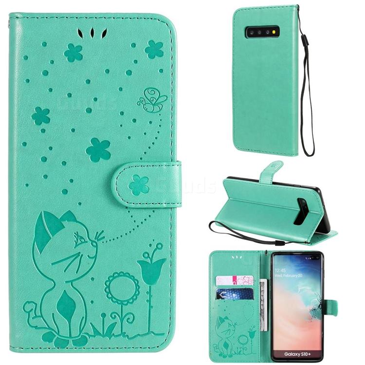 Embossing Bee and Cat Leather Wallet Case for Samsung Galaxy S10 Plus(6.4 inch) - Green