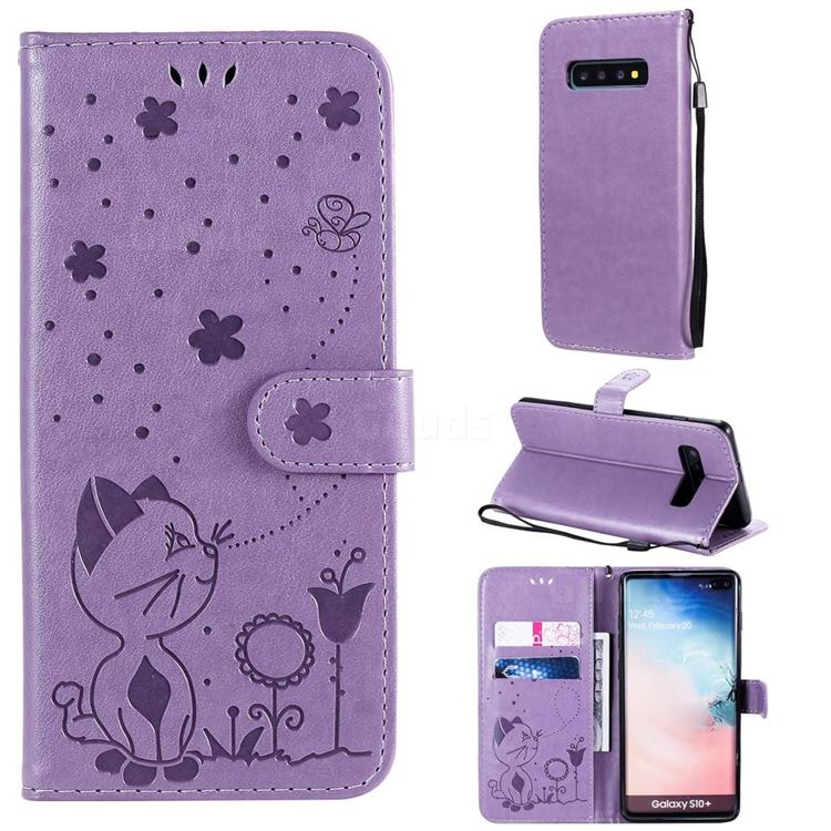 Embossing Bee and Cat Leather Wallet Case for Samsung Galaxy S10 Plus(6.4 inch) - Purple