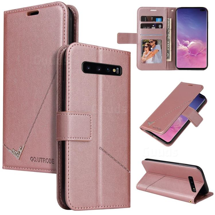 GQ.UTROBE Right Angle Silver Pendant Leather Wallet Phone Case for Samsung Galaxy S10 Plus(6.4 inch) - Rose Gold