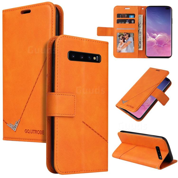 GQ.UTROBE Right Angle Silver Pendant Leather Wallet Phone Case for Samsung Galaxy S10 Plus(6.4 inch) - Orange