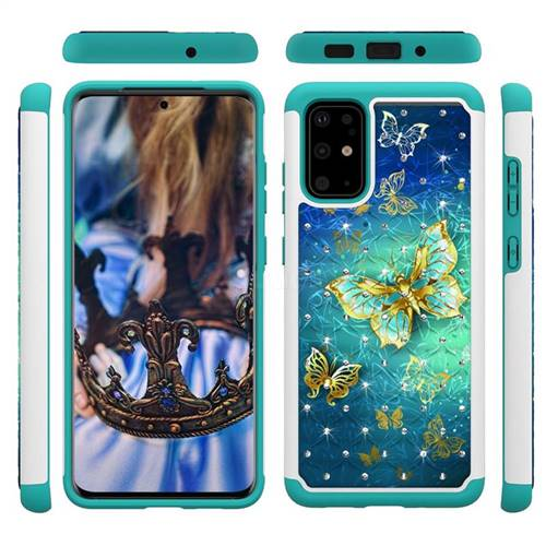 Gold Butterfly Studded Rhinestone Bling Diamond Shock Absorbing Hybrid Defender Rugged Phone Case Cover for Samsung Galaxy S20 Plus / S11
