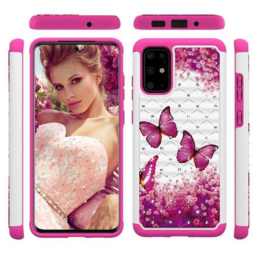 Rose Butterfly Studded Rhinestone Bling Diamond Shock Absorbing Hybrid Defender Rugged Phone Case Cover for Samsung Galaxy S20 Plus / S11