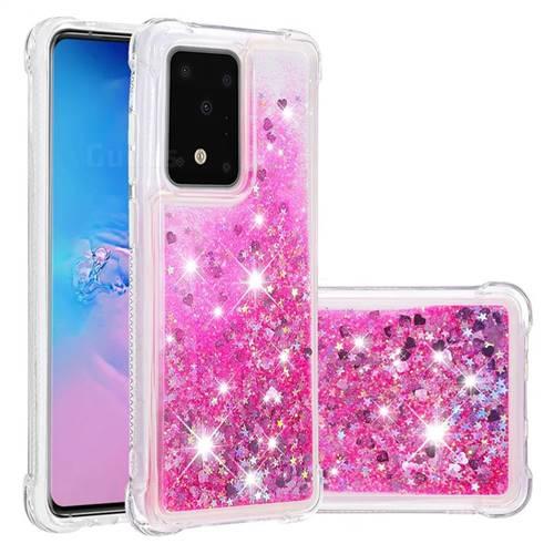 Dynamic Liquid Glitter Sand Quicksand TPU Case for Samsung Galaxy S20 Plus / S11 - Pink Love Heart