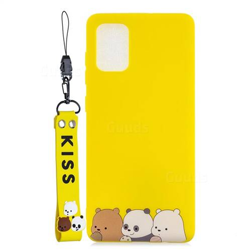 Yellow Bear Family Soft Kiss Candy Hand Strap Silicone Case for Samsung Galaxy S20 Plus / S11