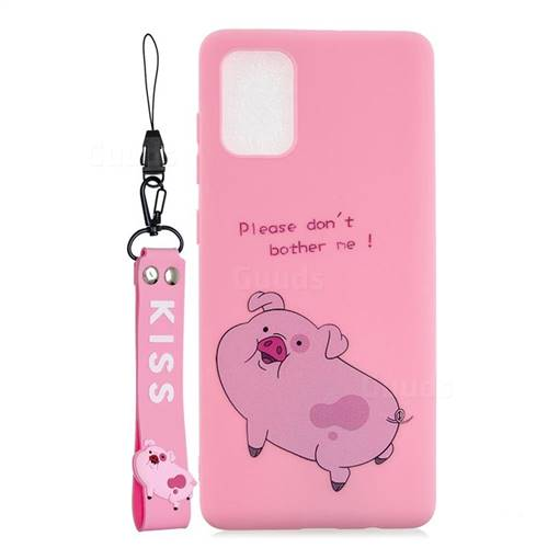 Pink Cute Pig Soft Kiss Candy Hand Strap Silicone Case for Samsung Galaxy S20 Plus / S11