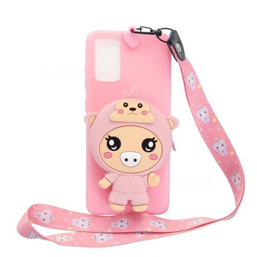 Pink Pig Neck Lanyard Zipper Wallet Silicone Case for Samsung Galaxy S20 Plus / S11
