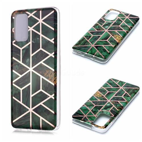 Green Rhombus Galvanized Rose Gold Marble Phone Back Cover for Samsung Galaxy S20 Plus / S11
